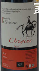 Origine - Le Plantis des Vallées - 2016 - Rouge