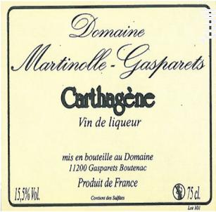 Carthagène Rouge Artisanal - Domaine Martinolle-Gasparets - 2014 - Rouge