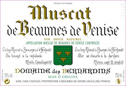 Muscat de Beaumes de Venise - Domaine Des Bernardins - 2018 - Blanc